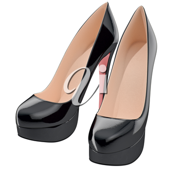 Black lackered shoes on high heels. 3D graphic object on white background isolated