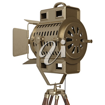 Studio spotlight with wooden tripod, zoomed view. 3D graphic object on white background