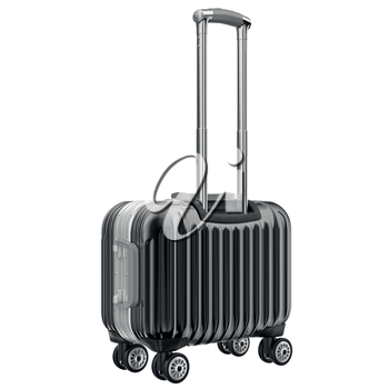 Small black luggage. 3D graphic object isolated on white background