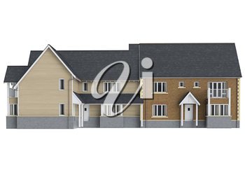 Large two storey villa, front view. 3D graphic isolated object on white background