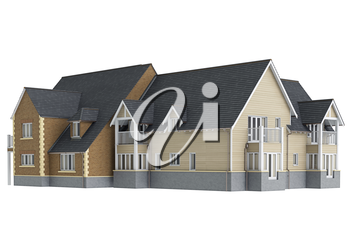 House mansion long. 3D graphic isolated object on white background