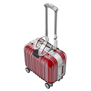 Red metallic luggage. 3D graphic object isolated on white background