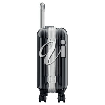 Suitcase for travel, side view. 3D graphic object isolated on white background