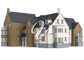 Country house high roof. 3D graphic isolated object on white background