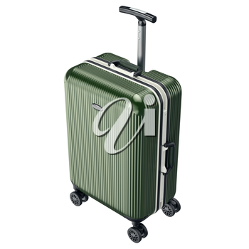 Large luggage on wheels. 3D graphic object isolated on white background