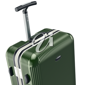 Green luggage, zoomed view. 3D graphic object on white background