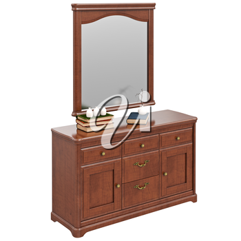 Wooden dresser with mirror. 3D graphic isolated object on white background