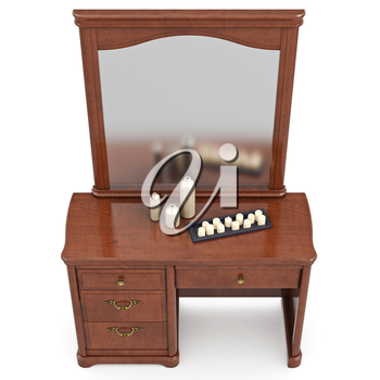 Dresser classic style with mirror, top view. 3D graphic isolated object on white background