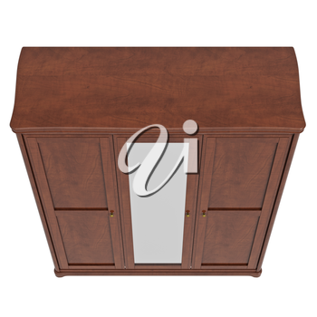 Cabinet with doors closed, top view. 3D graphic isolated object on white background