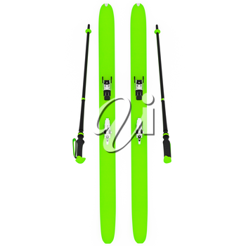 Skiing green ski poles, top view. 3D graphic isolated object on white background