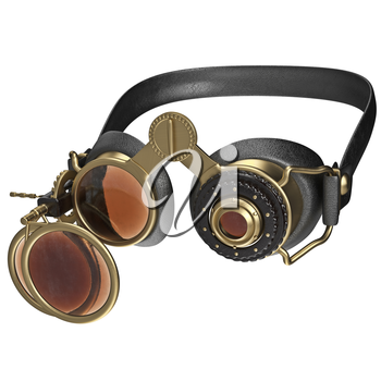 Glasses with round lenses retro style. 3D graphic isolated object on white background