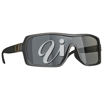 Sunglasses with black frame plastic. 3D graphic isolated object on white background