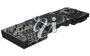 Dj set table mixing digital turntable to view control on rear panel. 3D graphic