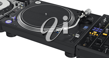 Professional dj turntable with chrome elements, zoomed view. 3D graphic