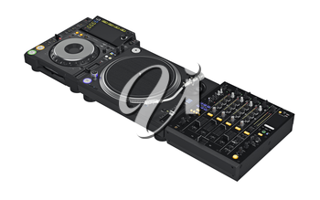 Set black mixer dj music professional, digital equipment. 3D graphic