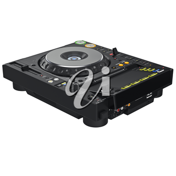 Black dj mixer music table, digital display. 3D graphic