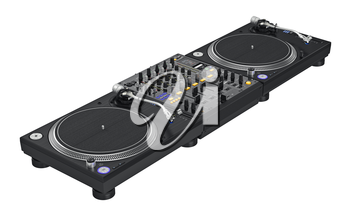 Set black dj mixer equipment vinyl player. 3D graphic
