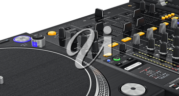 Regulators dj turntable parameters of vinyl player, close view. 3D graphic
