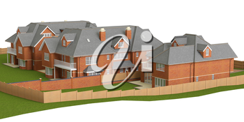 Street of residential cottage style homes. 3D graphic