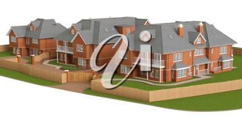 Street of residential cottage of bricks style homes. 3D graphic