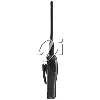 Portable mobile radio with antenna, side view. 3D graphic