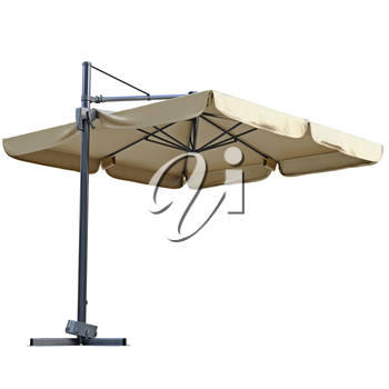 Beige open beach umbrella for rest. 3D graphic