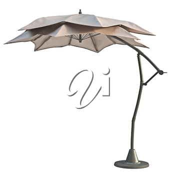 Patio open beach umbrella, sun protection. 3D graphic