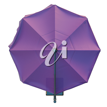 Beach umbrella for relax, top view. 3D graphic