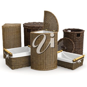 Set home empty basket on white background. 3D graphic