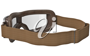 Stylish brown leather goggles in classic style with strap. 3D graphic