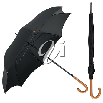 Black classic umbrella open, closed with wooden handle. 3D graphic