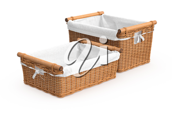 Empty square shape wicker baskets on white background. 3D graphic