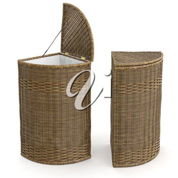 Empty wicker basket container on white background. 3D graphic