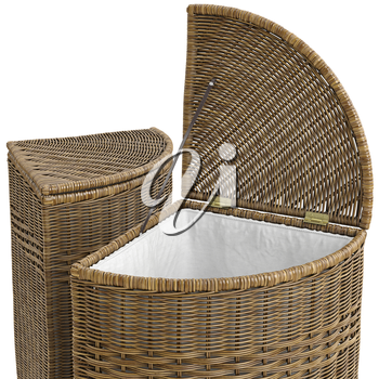 Empty closeup wicker baskets on white background. 3D graphic