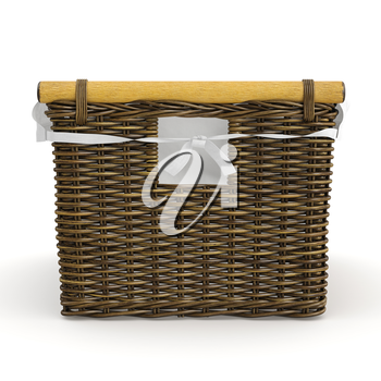 Empty wicker basket square shape on white background. 3D graphic