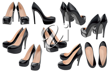 Set women's patent leather shoes on high heels. 3D graphic