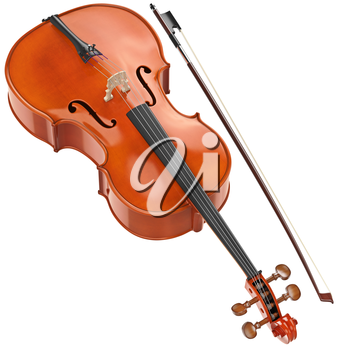 Cello wooden retro style with metal strings. 3D graphic