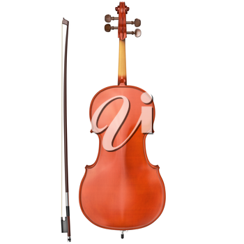 Classic cello with brown bow, back view. 3D graphic