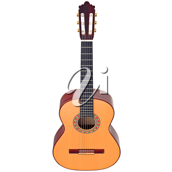 Classical guitar concert acoustic with pattern. 3D graphic