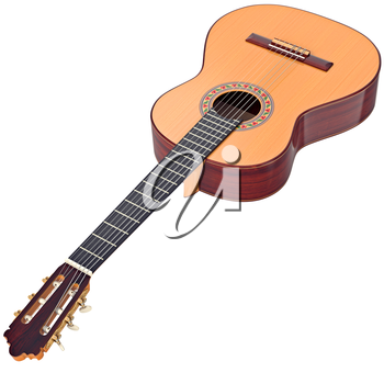 Classical guitar wooden professional fingerboard. 3D graphic