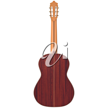 Classical guitar with wooden fingerboard, back view. 3D graphic