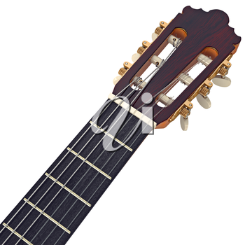 Headstock wooden guitar fingerboard with tuning-pegs, close view. 3D graphic
