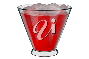 Glass cup with ice red liquid inside. 3D graphic