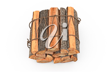 Firewood bunch stack dry chopped, top view. 3D graphic