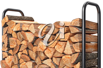 Firewood stack chopped woodpile on metal rack, close view. 3D graphic