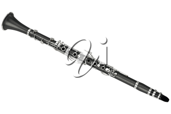 Clarinet jazz wind musical equipment. 3D graphic