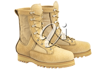 Military boots beige suede with bootlace. 3D graphic