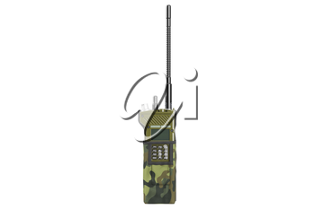 Military radio khaki in cover, front view. 3D graphic