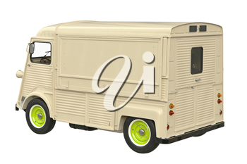 Food beige car eatery on wheels. 3D graphic