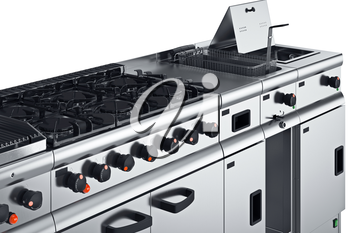 Kitchen equipment modern professional tool, close view. 3D graphic